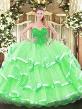Floor Length Ball Gowns Sleeveless Apple Green Sweet 16 Dress Lace Up