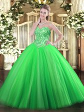 High Quality Floor Length Green Quinceanera Gowns Tulle Sleeveless Appliques