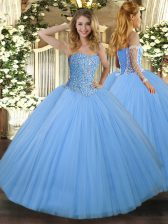 Vintage Aqua Blue Lace Up Sweetheart Beading Quince Ball Gowns Tulle Sleeveless
