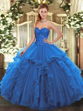 Blue Sweetheart Neckline Beading and Ruffles Quince Ball Gowns Sleeveless Lace Up