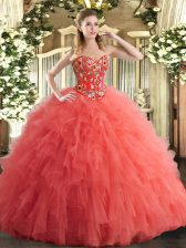 Latest Watermelon Red Ball Gown Prom Dress Military Ball and Sweet 16 and Quinceanera with Embroidery and Ruffles Sweetheart Sleeveless Lace Up
