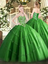 Green Tulle Lace Up Sweetheart Sleeveless Floor Length 15th Birthday Dress Beading and Appliques