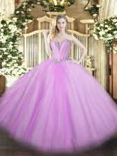 Sexy Lavender Ball Gowns Beading 15 Quinceanera Dress Lace Up Tulle Sleeveless Floor Length