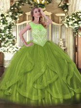 Decent Floor Length Olive Green Sweet 16 Dress Tulle Sleeveless Beading and Ruffles