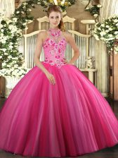 Deluxe Tulle Halter Top Sleeveless Lace Up Embroidery Quinceanera Gowns in Hot Pink