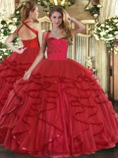 Flare Wine Red Tulle Lace Up Sweet 16 Dresses Sleeveless Floor Length Ruffles