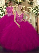Admirable Beading and Ruffles Sweet 16 Quinceanera Dress Fuchsia Zipper Sleeveless Floor Length