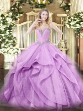 Colorful Lavender Sleeveless Beading and Ruffles Floor Length Sweet 16 Dress