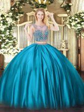 Exceptional Floor Length Baby Blue Vestidos de Quinceanera Scoop Sleeveless Lace Up