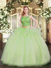 Suitable Floor Length Yellow Green Sweet 16 Quinceanera Dress Organza Sleeveless Beading
