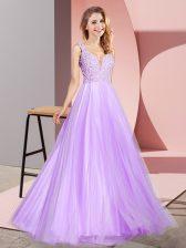 Artistic Floor Length A-line Sleeveless Lavender Dress for Prom Zipper