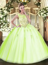 Yellow Green 15 Quinceanera Dress Sweet 16 and Quinceanera with Beading and Appliques Scoop Sleeveless Zipper