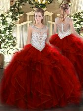 Free and Easy Wine Red Sleeveless Tulle Zipper Ball Gown Prom Dress for Military Ball and Sweet 16 and Quinceanera