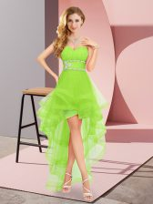Sweetheart Sleeveless Dress for Prom High Low Beading Chiffon