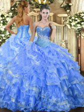 Fabulous Sweetheart Sleeveless Lace Up 15 Quinceanera Dress Baby Blue Organza
