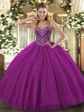 Artistic Fuchsia Lace Lace Up Sweetheart Sleeveless Floor Length Quinceanera Dress Beading