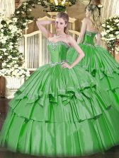 Green Lace Up 15 Quinceanera Dress Beading and Ruffled Layers Sleeveless Floor Length