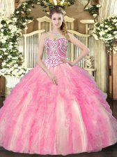 Sweetheart Sleeveless Lace Up Quinceanera Dress Rose Pink Tulle