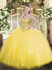 Ball Gowns Sweet 16 Quinceanera Dress Gold Sweetheart Tulle Sleeveless Floor Length Lace Up