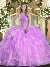 Floor Length Lilac Quinceanera Gowns High-neck Sleeveless Lace Up