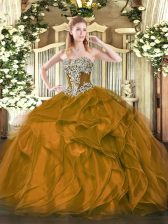 Unique Strapless Sleeveless 15 Quinceanera Dress Floor Length Beading and Ruffles Brown Organza