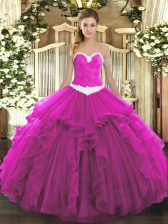 Fuchsia 15th Birthday Dress Military Ball and Sweet 16 and Quinceanera with Appliques and Ruffles Sweetheart Sleeveless Lace Up