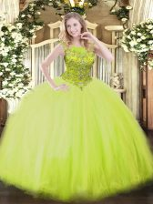 Unique Yellow Green Ball Gowns Tulle Scoop Sleeveless Beading Floor Length Zipper Quinceanera Dress