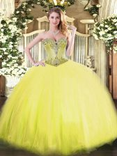 Lovely Floor Length Yellow Quinceanera Dresses Sweetheart Sleeveless Lace Up