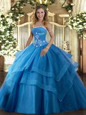 Amazing Baby Blue Ball Gowns Strapless Sleeveless Tulle Floor Length Lace Up Beading and Ruffled Layers Quinceanera Dresses