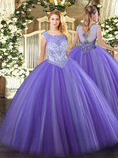 Adorable Lavender Tulle Zipper Scoop Sleeveless Floor Length Sweet 16 Dresses Beading