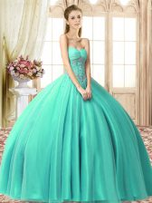 Ball Gowns Sweet 16 Quinceanera Dress Turquoise Sweetheart Tulle Sleeveless Floor Length Lace Up