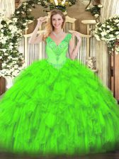 Exquisite Lace Up V-neck Beading and Ruffles 15 Quinceanera Dress Organza Sleeveless