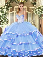 Sleeveless Organza Floor Length Lace Up Quinceanera Dress in Blue with Beading and Ruffled Layers