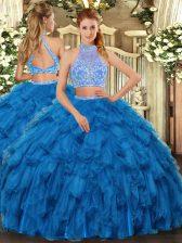 Modest Floor Length Blue Quince Ball Gowns Organza Sleeveless Beading and Ruffles