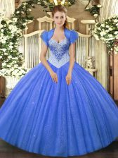 Modern Blue Lace Up Sweetheart Beading Sweet 16 Dress Tulle Sleeveless