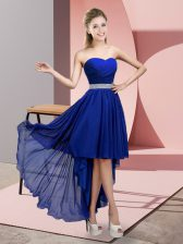 Discount Blue A-line Chiffon Sweetheart Sleeveless Beading High Low Lace Up Evening Dress
