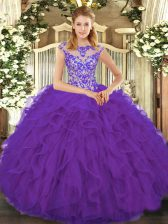 High Quality Eggplant Purple Quinceanera Dress Sweet 16 and Quinceanera with Beading and Ruffles Scoop Cap Sleeves Lace Up
