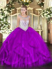Elegant Eggplant Purple Scoop Zipper Beading and Ruffles Quinceanera Dresses Sleeveless