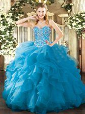 Chic Organza Sweetheart Sleeveless Lace Up Beading and Ruffles Sweet 16 Dress in Aqua Blue
