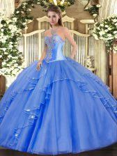 Vintage Blue Quinceanera Gowns Military Ball and Sweet 16 and Quinceanera with Beading and Ruffles Sweetheart Sleeveless Lace Up