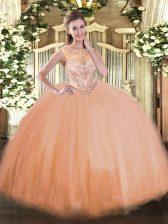 Peach Tulle Lace Up Sweet 16 Dresses Sleeveless Floor Length Beading