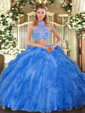 Most Popular Halter Top Sleeveless Criss Cross Sweet 16 Dress Teal Tulle