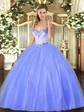 Tulle Sleeveless Floor Length Vestidos de Quinceanera and Beading