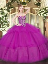 Low Price Fuchsia Ball Gowns Sweetheart Sleeveless Tulle Floor Length Lace Up Beading and Ruffled Layers Sweet 16 Dresses