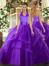 Flare Sleeveless Floor Length Ruffled Layers Lace Up Quinceanera Gowns with Purple
