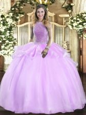 Clearance Lilac Ball Gowns High-neck Sleeveless Organza Floor Length Lace Up Beading 15th Birthday Dress