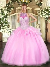 Modest Sleeveless Floor Length Beading Lace Up Sweet 16 Quinceanera Dress with Pink