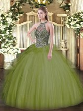 Trendy Olive Green Lace Up Halter Top Beading Sweet 16 Quinceanera Dress Tulle Sleeveless