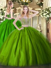 Floor Length Lace Up Quinceanera Gown Olive Green for Military Ball and Sweet 16 and Quinceanera with Beading