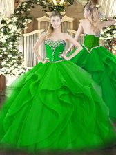 Hot Sale Green Sleeveless Beading and Ruffles Floor Length Quince Ball Gowns